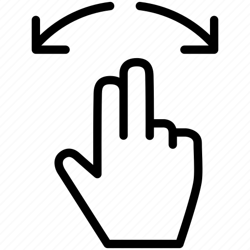 arrow, gesture, hand, in, zoom icon