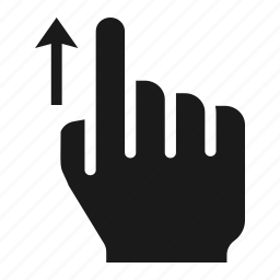 finger, gesture, hand, one, screen, swipe, up icon