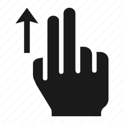 finger, gesture, hand, screen, swipe, two, up icon