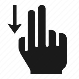 down, finger, gesture, hand, screen, swipe, two icon