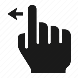 finger, gesture, hand, left, one, screen, swipe icon