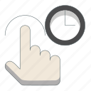 direction, gesture, press, select, tap, time icon