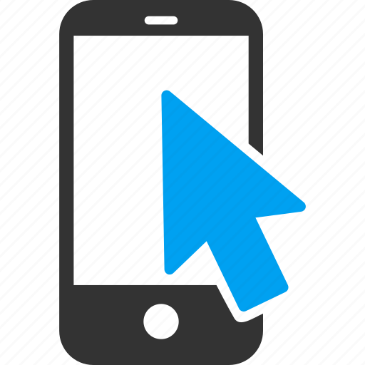 arrow, click, gesture, point, pointer, smartphone, tap icon