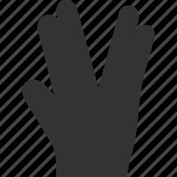 fingers, friendship, prosper, salute, star trek, vulcan, vulcane gesture icon