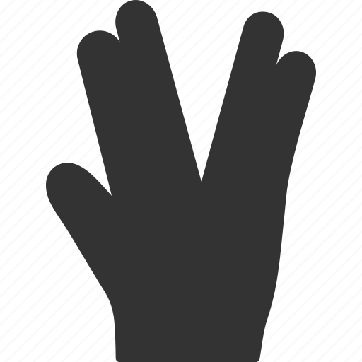fingers, friendship, prosper, salute, star trek, vulcan, vulcane gesture icon