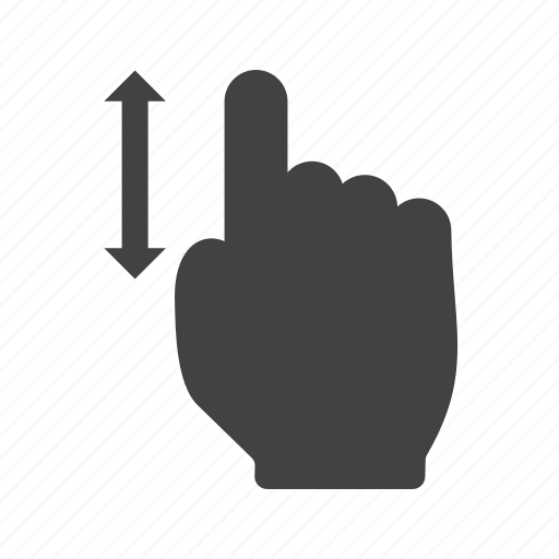 computer, finger, hand, laptop, mouse, scroll, vertical icon