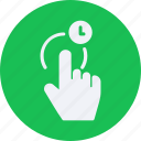 clock, gesture, gestures, hold, tap, touch icon