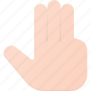 click, finger, gesture, hand, point, three, touch icon