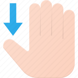 down, gesture, hand, scroll, swipe, touch icon
