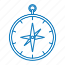 camping, compass, direction, travel icon