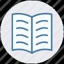 book, book mark, open, open book, reading icon