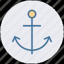 anchor, boat anchor, naval, sailing boat, sea life, ship anchor icon