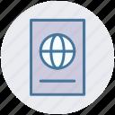 document, globe, identification, passport, visa icon