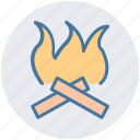 camp, camping, fire, flame, hot icon