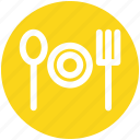 .svg, dining, eating, fork, fork plate spoon, plate, spoon icon