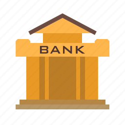 bank, building, financial. cash, institute, money, town icon