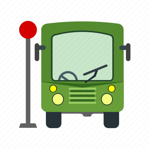 bus, road, shelter, stop, street, town, transport icon