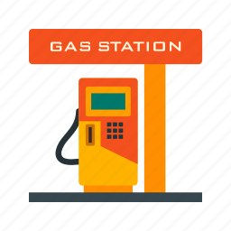 fuel, gas station, pump, refill, town, transportation, vehicle icon
