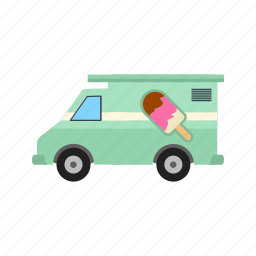 cone, cream, ice, summer, sweet, town, van icon
