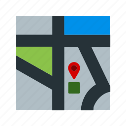 city, map, navigation, road, street, town, travel icon