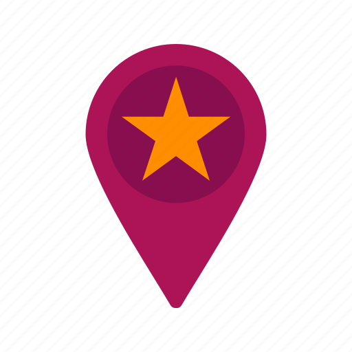favorite, location, map, pin, sign, star, town icon