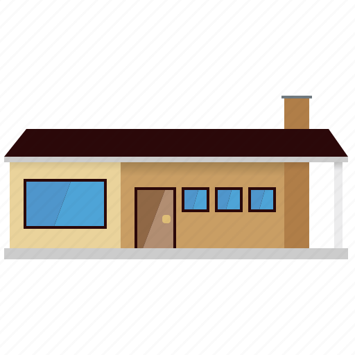 architecture, building, bungalow, facade, home, house, small town icon