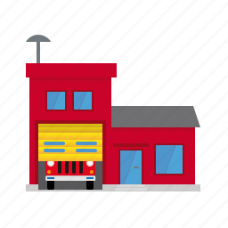building, fire, firehouse, garage, public, small town, station icon