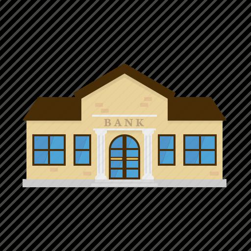 bank, building, columns, facade, house, portal, small town icon