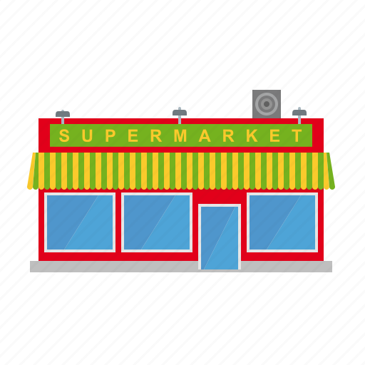 awning, building, shop, small town, store, supermarket, town icon
