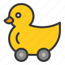 bauble, duck, duck car, game, plaything, rolling duck, toy icon