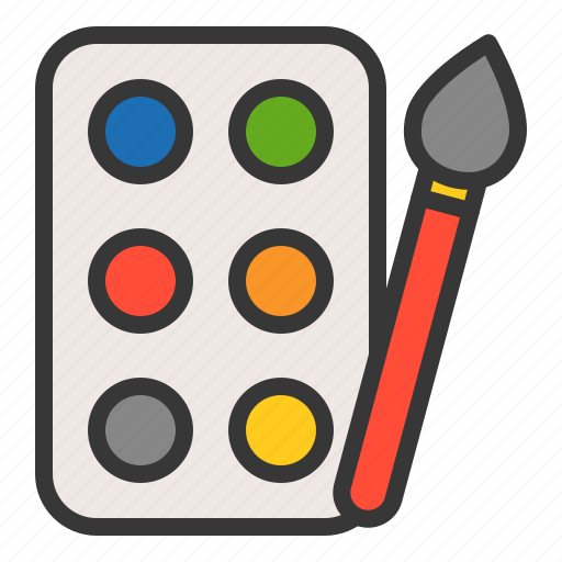 color, paint, paintbrush, painting, palette, plaything, toy icon