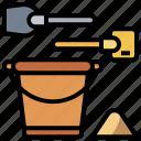 beach, bucket, shovel, summertime, tools, toy, utensils