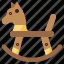 childhood, fun, horse, rocking, toy, wooden