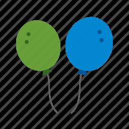 balloon, balloons, celebration, color, decoration, green, yellow icon