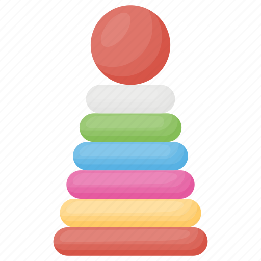colorful rings, kids toy, rock a stack, stacking rings, toddlers toy icon
