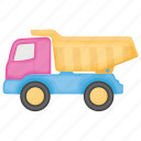 dump truck, kid toy, playtime, toy transport, toy truck, toy vehicle icon