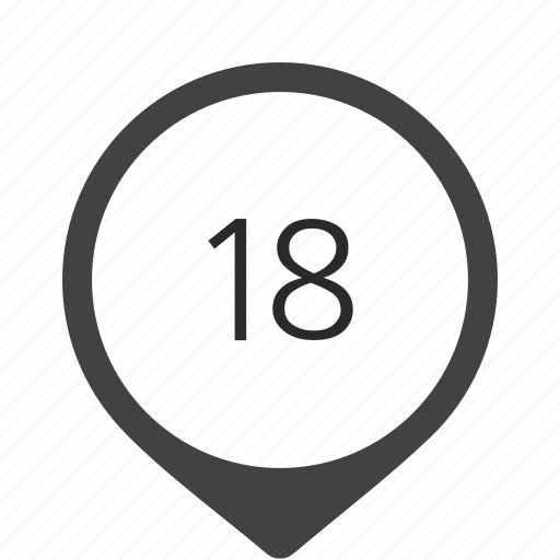 eighteen, formula, location, number, track icon