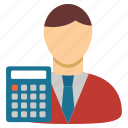 accounter, accounting, balance, book keeper, businessman, calculation, calculator icon
