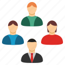 company, conference, customers, social group, staff, team, users icon