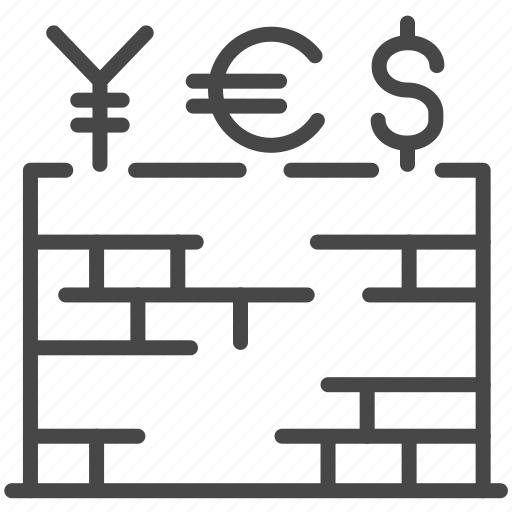 barrier, currency, economic, tariff, trade war, trade wars, wall icon