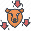 bear, business, filled, outline, trend