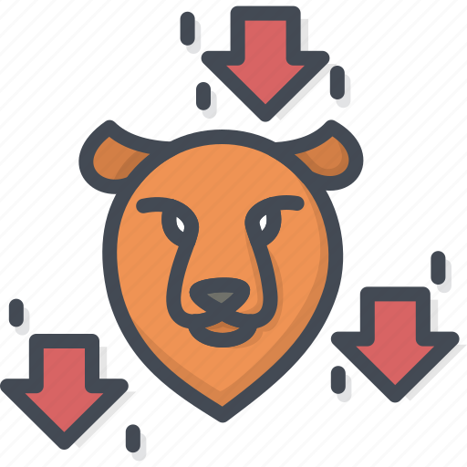 bear, business, filled, outline, trend icon