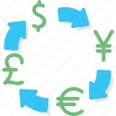 business, currency, dollar, euro, exchange, pound, yen icon
