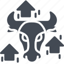 bull, business, forex, solid, trading, trend icon