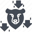 bear, business, forex, solid, trading, trend icon