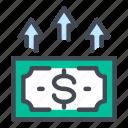 dollar, money, cash, growth, up, finance, arrow icon