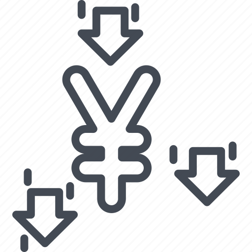 business, currency, line, ouline, yen icon