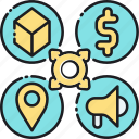 4p, marketing, place, price, product, promotion icon