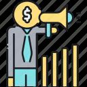 advertising, businessman, megaphone, promoter, sales icon