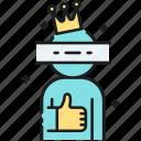 brand mascot, cosplay, costume, king, mascot, thumbs up icon